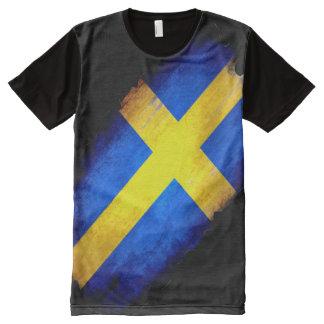El 100% Suecia orgullosa dentro de la bandera del Camiseta Con Estampado Integral