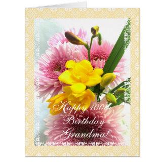 El 100o cumpleaños de la mamá florece (la edad del tarjeta de felicitación grande