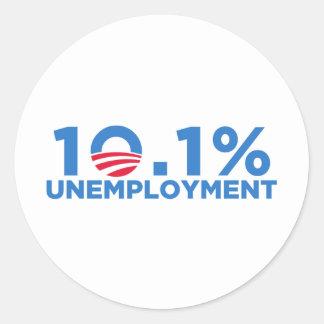 el 10 1 por ciento de desempleo pegatina redonda