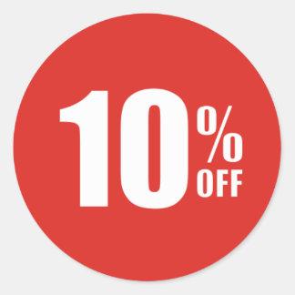 El 10% el diez por ciento del pegatina de la venta