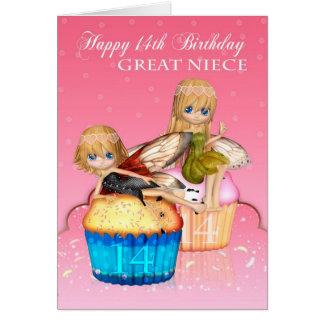 El 14to cumpleaños de la gran sobrina con las tarjeta de felicitación