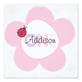 """El 1r cumpleaños de """"Addison"""" invita Invitación 13,3 Cm X 13,3cm"""