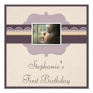 El 1r cumpleaños del bebé elegante añade su foto invitaciones personales