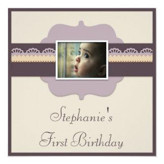 El 1r cumpleaños del bebé elegante añade su foto invitación 13,3 cm x 13,3cm