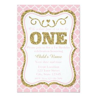 El 1r cumpleaños del brillo rosado del oro invita invitación 12,7 x 17,8 cm