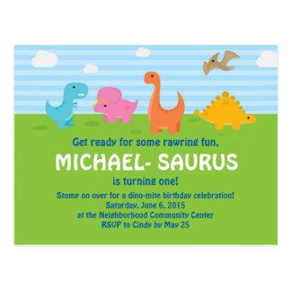 El 1r cumpleaños del dinosaurio invita postal
