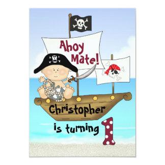 El 1r cumpleaños del pequeño pirata lindo de invitación 12,7 x 17,8 cm