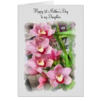 El 1r día de madre feliz a mis orquídeas del rosa tarjeta de felicitación
