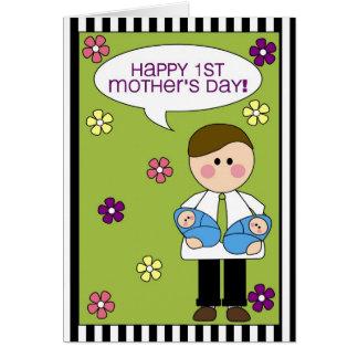 el 1r día de madre feliz (gemelos del muchacho) tarjeta de felicitación