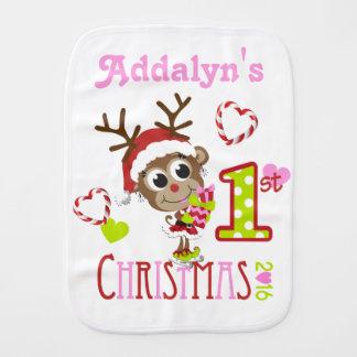 El 1r navidad de la niña personalizó el paño del paños para bebé