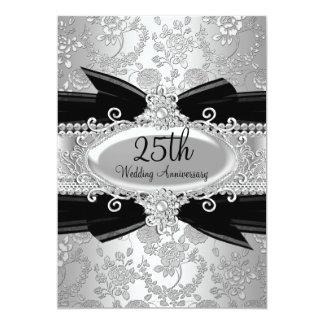 El 25to aniversario color de rosa y de la gema invitación 12,7 x 17,8 cm