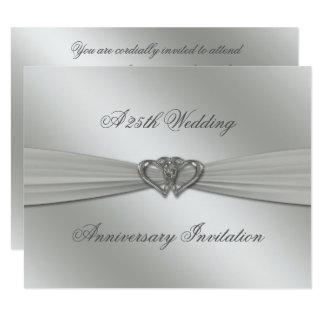 El 25to aniversario de boda de la plata clásica invitación 10,8 x 13,9 cm