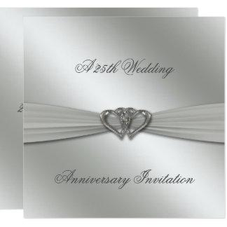 El 25to aniversario de boda de la plata clásica invitación 13,3 cm x 13,3cm