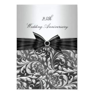 El 25to aniversario de boda de plata de la hoja invitación 12,7 x 17,8 cm