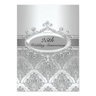 El 25to aniversario de boda del damasco de plata invitación 12,7 x 17,8 cm