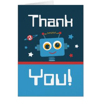 El 2do cumpleaños del robot le agradece las notas tarjeton