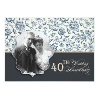 el 40.o aniversario invita invitación 12,7 x 17,8 cm