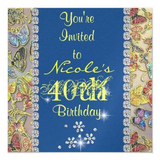 el 40.o cumpleaños de las mujeres del inviitation invitación 13,3 cm x 13,3cm
