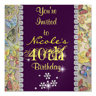 el 40.o cumpleaños de las mujeres PÚRPURAS del Invitación 13,3 Cm X 13,3cm