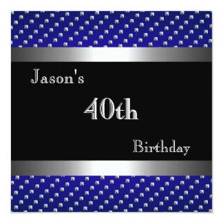 El 40.o cumpleaños de los remaches de plata invitación 13,3 cm x 13,3cm