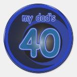 El 40.o cumpleaños del papá pegatinas redondas