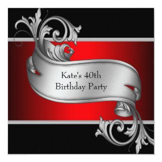 El 40.o cumpleaños rojo de la mujer negra invitación 13,3 cm x 13,3cm