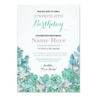 el 40.o o cualquier blanco floral de la fiesta de invitación 12,7 x 17,8 cm