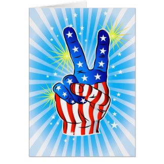 el 4 de julio - Americano-Victoria y paz Tarjeta De Felicitación