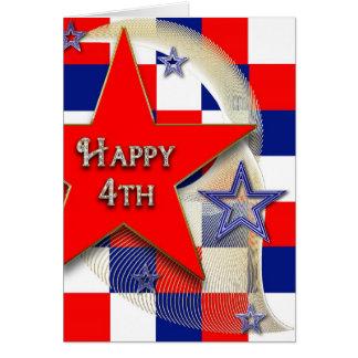 el 4 de julio - barras y estrellas los E E U U Tarjeton