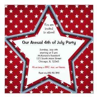 el 4 de julio invitación 13,3 cm x 13,3cm