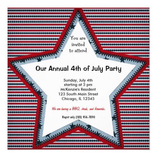 el 4 de julio invitaciones personalizada