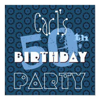El 50.o azul moderno del cumpleaños circunda la invitación 13,3 cm x 13,3cm