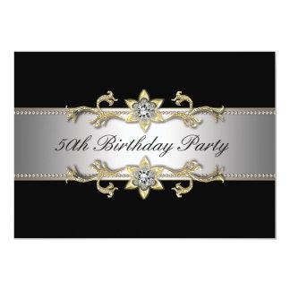 El 50.o cumpleaños de la mujer negra del oro invitación 12,7 x 17,8 cm