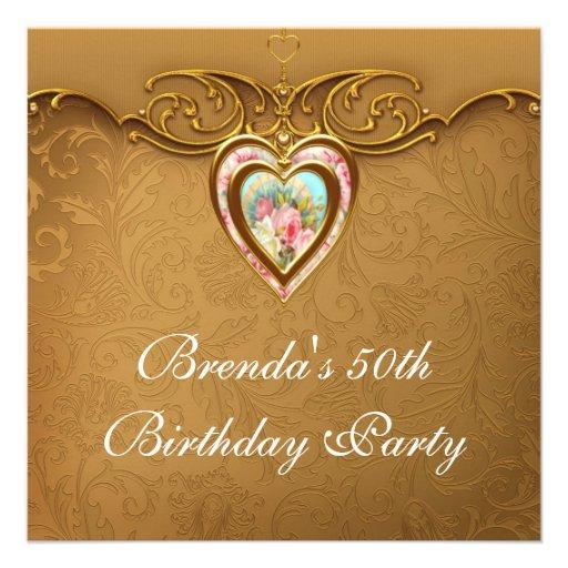 El 50.o cumpleaños del corazón del oro de la mujer invitación personalizada