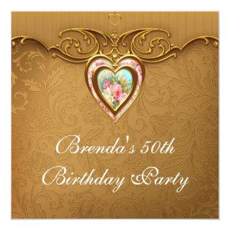 El 50.o cumpleaños del corazón del oro de la mujer invitación 13,3 cm x 13,3cm