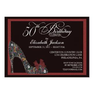 El 50.o cumpleaños del zapato floral sofisticado invitación 12,7 x 17,8 cm