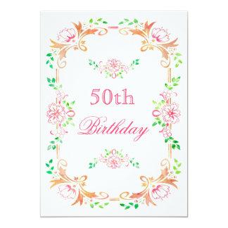 El 50.o doble del cumpleaños de la acuarela floral invitación 12,7 x 17,8 cm