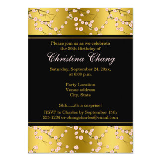El 50.o el | oro del cumpleaños el |, ennegrece invitación 11,4 x 15,8 cm