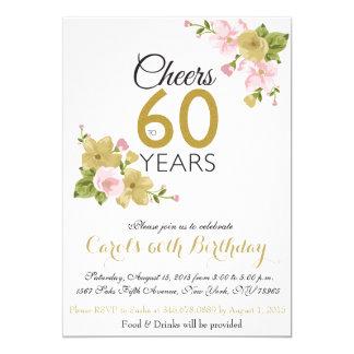 El 60.o cumpleaños de la flor pintada a mano invitación 12,7 x 17,8 cm