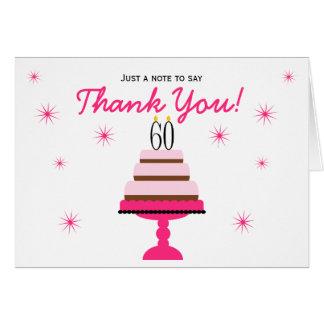 El 60.o cumpleaños de la torta con gradas rosada tarjeta pequeña