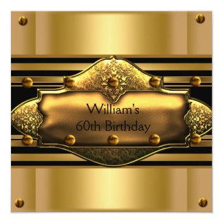 El 60.o oro para hombre de la fiesta de cumpleaños invitación 13,3 cm x 13,3cm