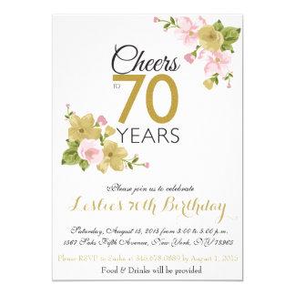 El 70.o cumpleaños de la flor pintada a mano invitación 12,7 x 17,8 cm