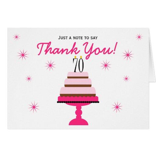 El 70.o cumpleaños de la torta con gradas rosada tarjeta pequeña