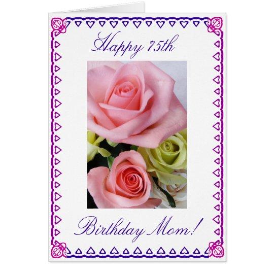El 75.o cumpleaños de la mamá tarjeta de felicitación