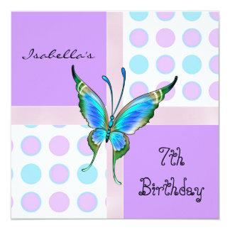 El 7mo cumpleaños de la invitación mancha el azul invitación 13,3 cm x 13,3cm