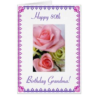 El 80.o cumpleaños de la abuela tarjeta de felicitación