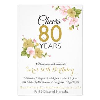 El 80.o cumpleaños de la flor pintada a mano invitación 12,7 x 17,8 cm