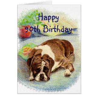El 90.o cumpleaños feliz consigue el perro emocion tarjeta de felicitación