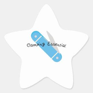 El acampar esencial pegatina en forma de estrella