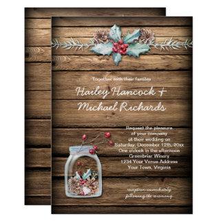 El acebo rústico del navidad sale las bayas del invitación 12,7 x 17,8 cm